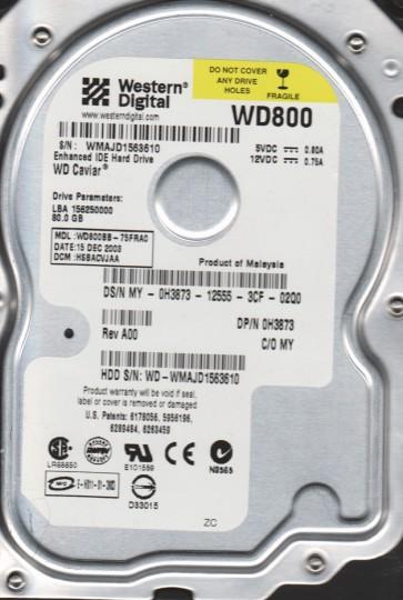 WD800BB-75FRA0, DCM HSBACVJAA, Western Digital 80GB IDE 3.5 Hard Drive