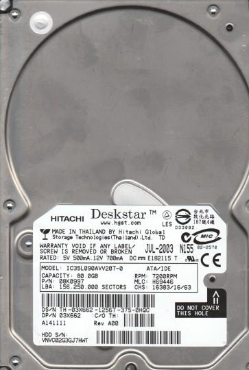 IC35L090AVV207-0, PN 08K0997, MLC H69446, Hitachi 80GB IDE 3.5 Hard Drive