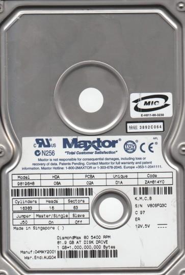 98196H8, Code ZAH814Y0 [K,M,C,Maxtor 81.9GB B] IDE 3.5 Hard Drive
