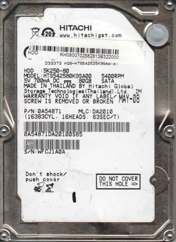 HTS542580K9SA00, PN 0A54871, MLC DA2010, Hitachi 80GB SATA 2.5 Hard Drive