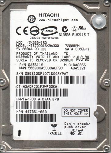 HTS722016K9A300, PN 0A56119, MLC DA2366, Hitachi 160GB SATA 2.5 Hard Drive