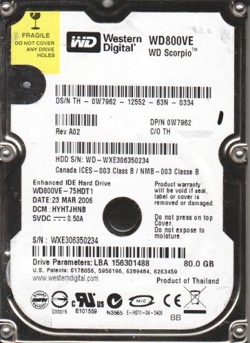 WD800VE-75HDT1, DCM HYHTJHNB, Western Digital 80GB IDE 2.5 Hard Drive