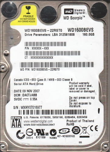 WD1600BEVS-22RST0, DCM DACTJABB, Western Digital 160GB SATA 2.5 Hard Drive