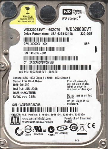 WD3200BEVT-60ZCT0, DCM HACV2BNB, Western Digital 320GB SATA 2.5 Hard Drive