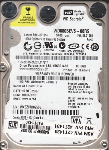 WD800BEVS-08RST2, DCM HHCTJBNB, Western Digital 80GB SATA 2.5 Hard Drive