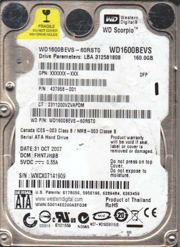 WD1600BEVS-60RST0, DCM FHNTJHBB, Western Digital 160GB SATA 2.5 Hard Drive