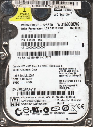 WD1600BEVS-22RST0, DCM FACTJANB, Western Digital 160GB SATA 2.5 Hard Drive