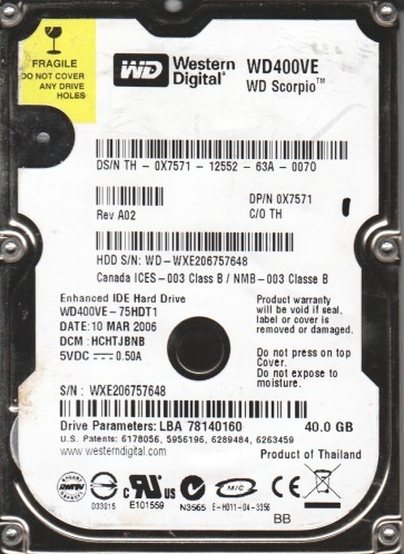 WD400VE-75HDT1, DCM HCHTJBNB, Western Digital 40GB IDE 2.5 Hard Drive