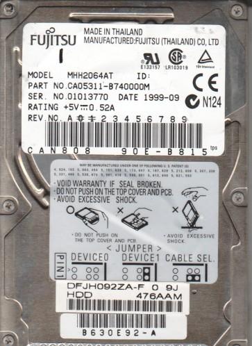 MHH2064AT, PN CA05311-B740000M, Fujitsu 6.4GB IDE 2.5 Hard Drive