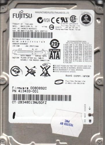 MHW2100BH, PN CA06672-B25500C1, Fujitsu 100GB SATA 2.5 Hard Drive