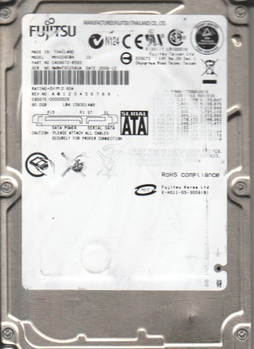 MHV2080BH, PN CA06672-B593, Fujitsu 80GB SATA 2.5 Hard Drive