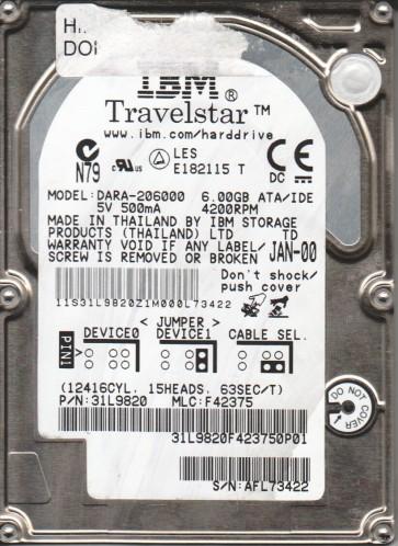 DARA-206000, PN 31L9820, MLC F42375, IBM 6GB IDE 2.5 Hard Drive
