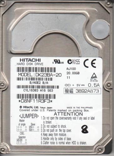 DK23BA-20, B/A0E2B/A, SH251, Hitachi 20GB IDE 2.5 Hard Drive
