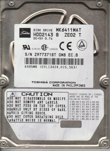 MK6411MAT, C0/J0.06B, HDD2143 B ZE02 T, Toshiba 6.5GB IDE 2.5 Hard Drive