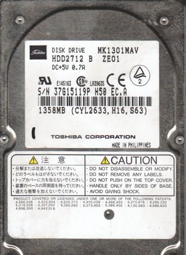 MK1301MAV, B0/B0.06E, HDD2712 B ZE01, Toshiba 1.3GB IDE 2.5 Hard Drive