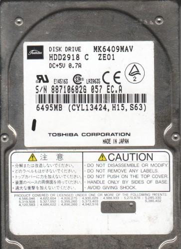 MK6409MAV, B1/F4.02A, HDD2918 C ZE01, Toshiba 6.4GB IDE 2.5 Hard Drive