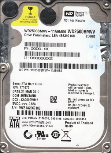 WD2500BMVV-11A9MS0, DCM HEBVJANB, Western Digital 250GB USB 2.5 Hard Drive