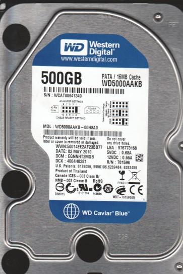 WD5000AAKB-00H8A0, DCM EGNNNHT2MGB, Western Digital 500GB IDE 3.5 Hard Drive