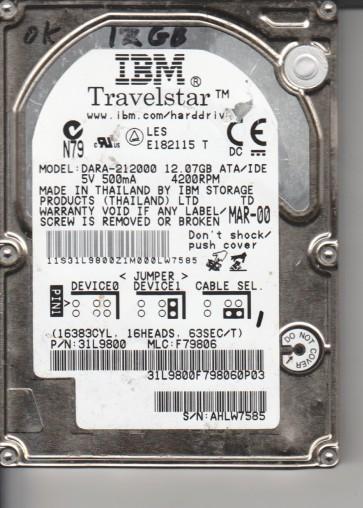 DARA-212000, PN 31L9800, MLC F79806, IBM 12.7GB IDE 2.5 Hard Drive