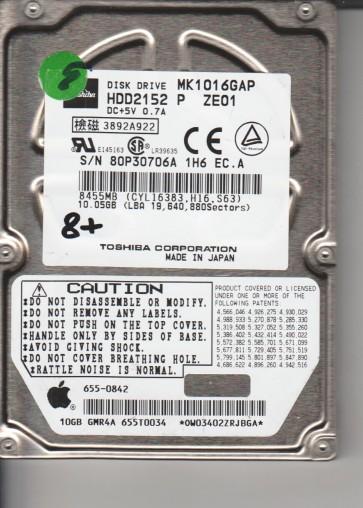 MK1016GAP, E0/U1.13A, HDD2152 P ZE01, Toshiba 10GB IDE 2.5 Hard Drive