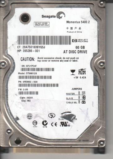 ST96812A, 5PJ, WU, PN 9W3882-020, FW 3.05, Seagate 60GB IDE 2.5 Hard Drive