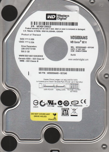 WD5000AAKS-00YGA0, DCM HHNCHT2MHN, Western Digital 500GB SATA 3.5 Hard Drive