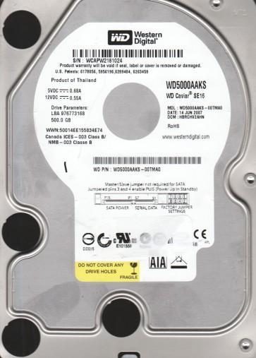 WD5000AAKS-00TMA0, DCM HBRCHV2AHN, Western Digital 500GB SATA 3.5 Hard Drive