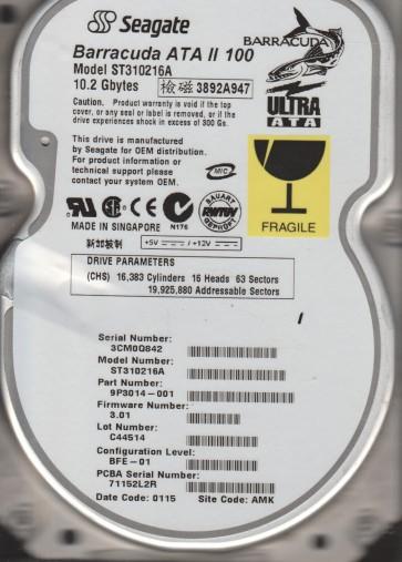 ST310216A, 3CM, AMK, PN 9P3014-001, FW 3.01, Seagate 10.2GB IDE 3.5 Hard Drive