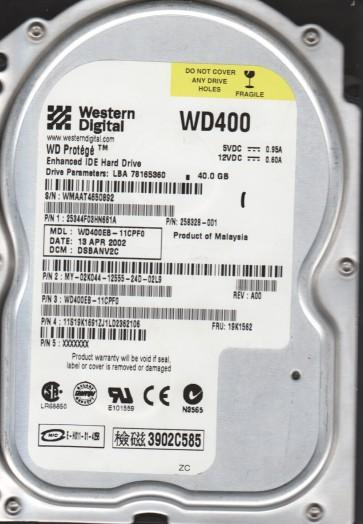 WD400EB-11CPF0, DCM DSBANV2C, Western Digital 40GB IDE 3.5 Hard Drive