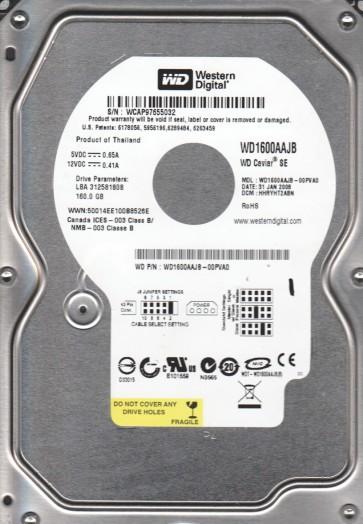 WD1600AAJB-00PVA0, DCM HHRYHT2ABN, Western Digital 160GB IDE 3.5 Hard Drive