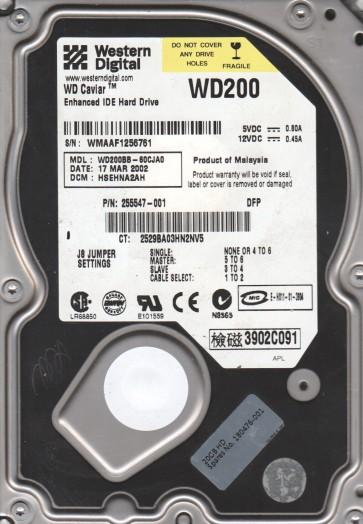 WD200BB-60CJA0, DCM HSEHNA2AH, Western Digital 20GB IDE 3.5 Hard Drive