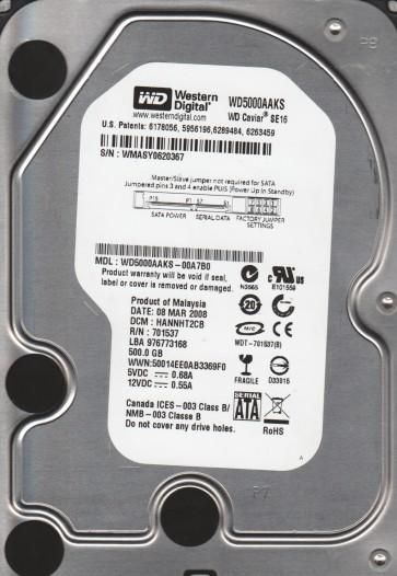 WD5000AAKS-00A7B0, DCM HANNHT2CB, Western Digital 500GB SATA 3.5 Hard Drive