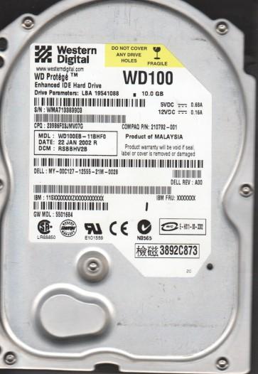 WD100EB-11BHF0, DCM RSBBHV2B, Western Digital 10GB IDE 3.5 Hard Drive