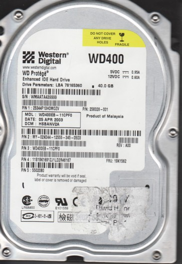 WD400EB-11CPF0, DCM DSCANV2A, Western Digital 40GB IDE 3.5 Hard Drive
