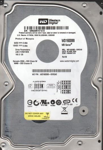 WD1600BB-00RDA0, DCM HSBANTJCH, Western Digital 160GB IDE 3.5 Hard Drive