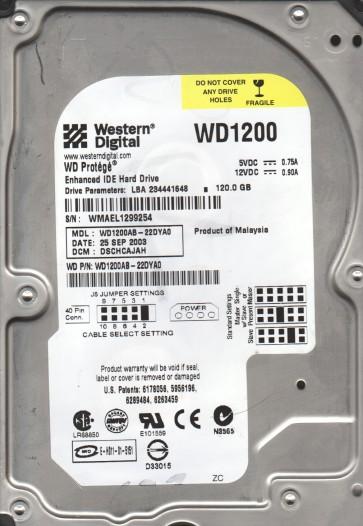 WD1200AB-22DYA0, DCM DSCHCAJAH, Western Digital 120GB IDE 3.5 Hard Drive