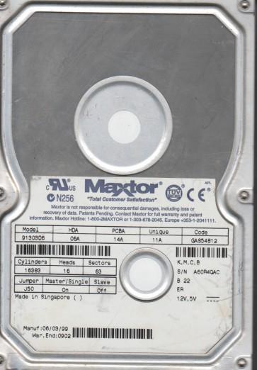 91303D6, Code GAS54812 [K,M,C,Maxtor 13GB B] IDE 3.5 Hard Drive