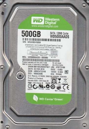 WD5000AADS-00S9B0, DCM HBRCHT2CHB, Western Digital 500GB SATA 3.5 Hard Drive