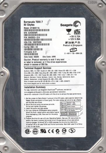 ST380011A, 3JV, AMK, PN 9W2003-314, FW 8.01, Seagate 80GB IDE 3.5 Hard Drive