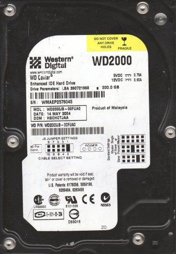WD2000JB-00FUA0, DCM HSCHCTJAA, Western Digital 200GB IDE 3.5 Hard Drive