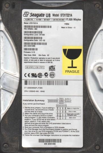 ST317221A, 6CV, SZ, PN 9P5004-030, FW 3.13, Seagate 17.2GB IDE 3.5 Hard Drive
