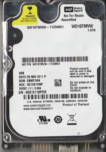 WD10TMVW-11ZSMS1, DCM EBMT2HN, Western Digital 1TB USB 2.5 Hard Drive
