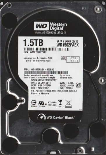 WD1502FAEX-007BA0, DCM HBRCHV2AB, Western Digital 1.5TB SATA 3.5 Hard Drive