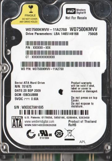 WD7500KMVV-11A27S0, DCM EBCVJBBB, Western Digital 750GB USB 2.5 Hard Drive