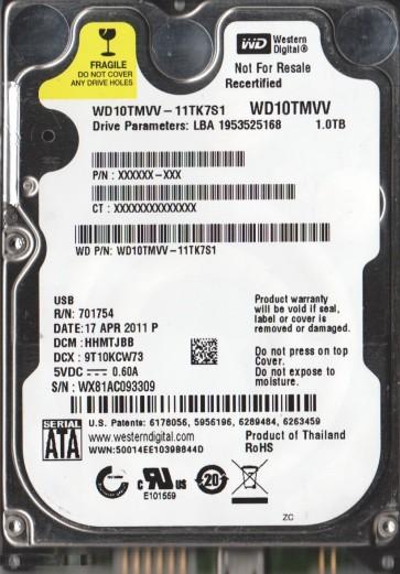 WD10TMVV-11TK7S1, DCM HHMTJBB, Western Digital 1TB USB 2.5 Hard Drive