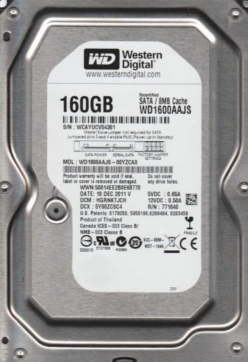 WD1600AAJS-00YZCA0, DCM HGRNKTJCH, Western Digital 160GB SATA 3.5 Hard Drive