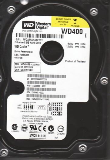 WD400BB-22JHA0, DCM DSBHNTJAH, Western Digital 40GB IDE 3.5 Hard Drive