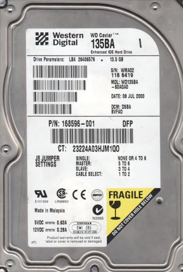 WD135BA-60AGA0, DCM DSBBVFAO, Western Digital 13.5GB IDE 3.5 Hard Drive