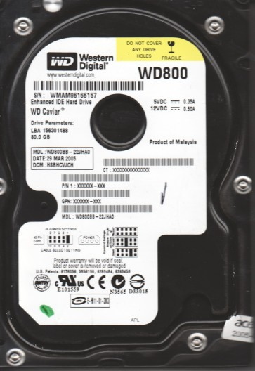WD800BB-22JHA0, DCM HSBHCVJCH, Western Digital 80GB IDE 3.5 Hard Drive