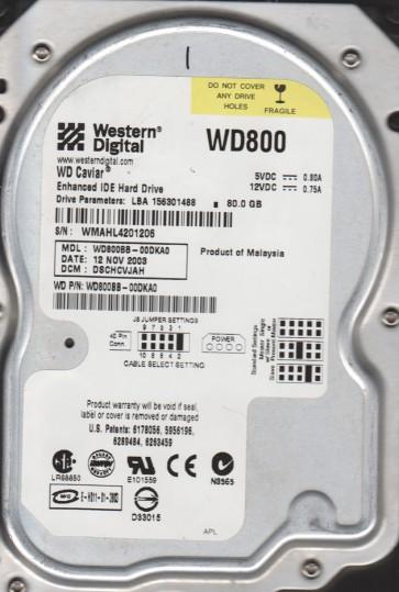 WD800BB-00DKA0, DCM DSCACVJAA, Western Digital 80GB IDE 3.5 Hard Drive